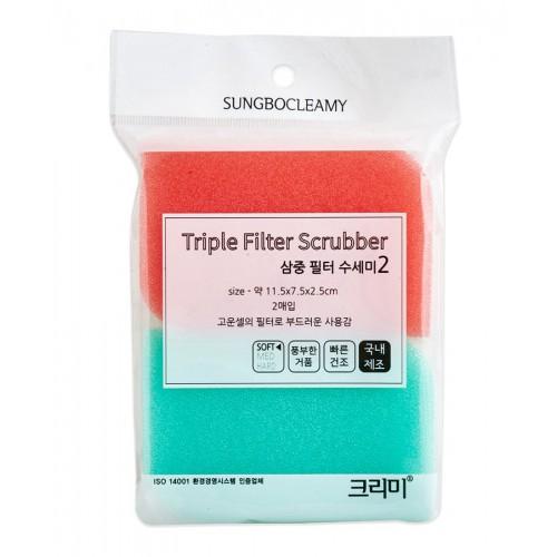 Скруббер-мочалка для мытья посуды ( 11,5 х 7,5 х 2,5) TRIPLE FILTER SCRUBBER