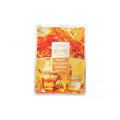 Маска тканевая на основе фильтрата улитки и мёда DEOPROCE COLOR SYNERGY EFFECT SHEET MASK YELLOW