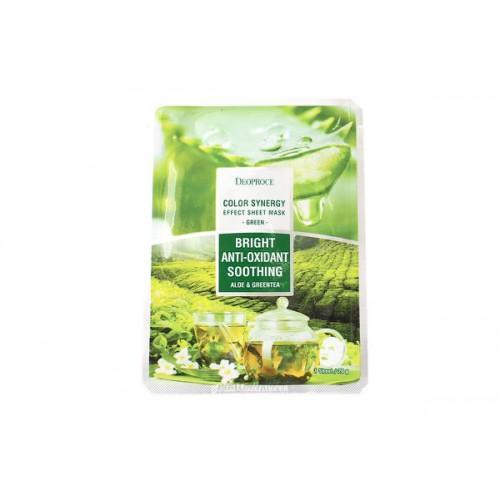 Маска тканевая на основе экстрактов алое и зеленого чая DEOPROCE COLOR SYNERGY EFFECT SHEET MASK GREEN