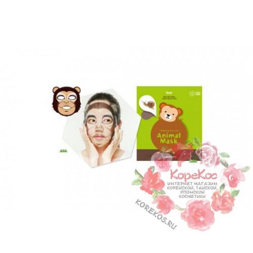 Маска для лица тканевая с муцином улитки Berrisom Animal Mask Series Monkey