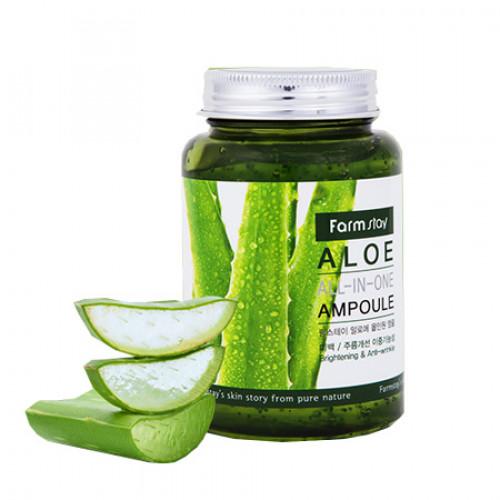 Многофункциональная ампульная сыворотка с экстрактом алоэ FarmStay Aloe All In One Ampoule