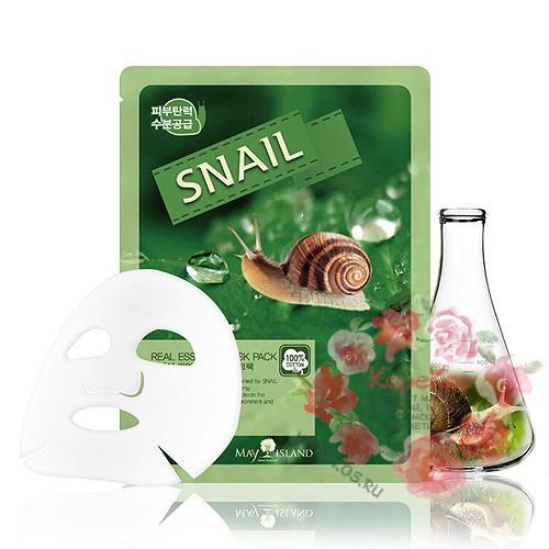 Маска для лица тканевая улитка Real Essence Snail Mask Pack