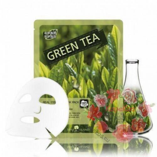 Маска для лица тканевая зеленый чай Real Essense Green Tea Mask Pack