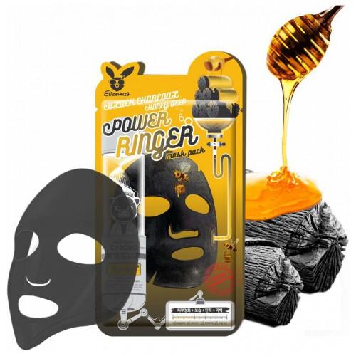 Маска для лица на тканевой основе древесный уголь и мед BLACK CHARCOAL HONEY DEEP POWER RINGER MASK PACK