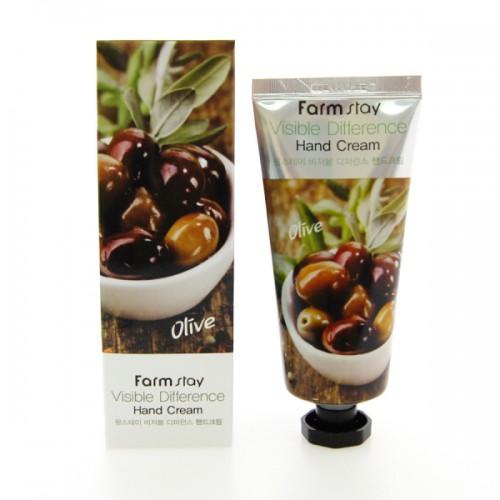 Крем для рук с экстрактом оливы FarmStay Visible Difference Hand Cream Olive