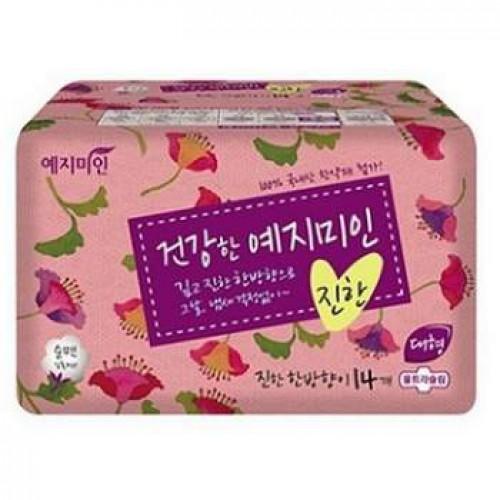 Прокладки гигиенические Натуральный хлопок 14шт (большие) Yejimiin Rich Herb Cotton Sanitary Pads 14P (280 мм) Large