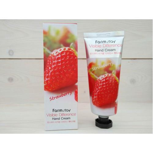 Крем для рук с экстрактом клубники FarmStay Visible Difference Hand Cream Strawberry