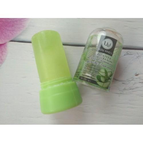 """Кристаллический дезодорант U & I """" Зеленый чай и алое вера"""" 80 гр"""