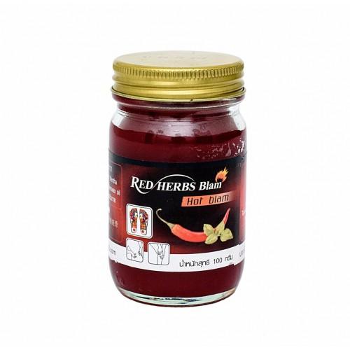 Традиционный красный тайский бальзам с перцем Чили Red Herb 100 гр
