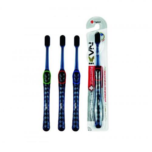 """Зубная щетка """"Navi"""" со сверхтонкими щетинками двойной высоты и прозрачной прорезиненной ручкой (с древесным углем, средней жесткости)"""