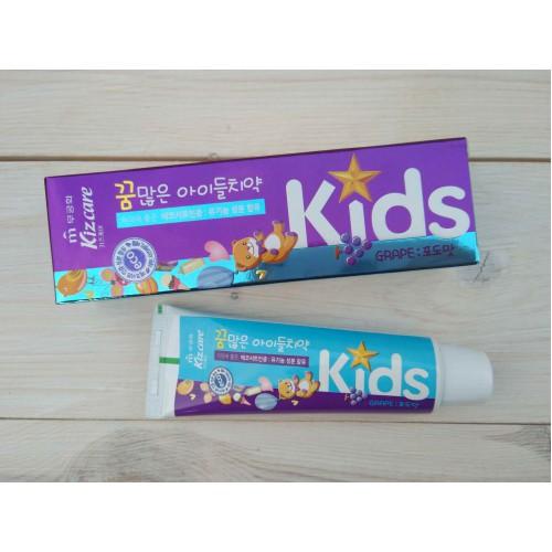 Детская гелевая зубная паста со вкусом виноградного мороженого Kizcare Kids