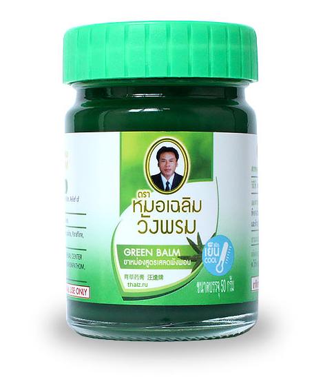 Зелёный тайский бальзам Wangprom в баночке