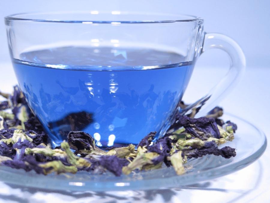 Заваренный тайский синий чай в бокале
